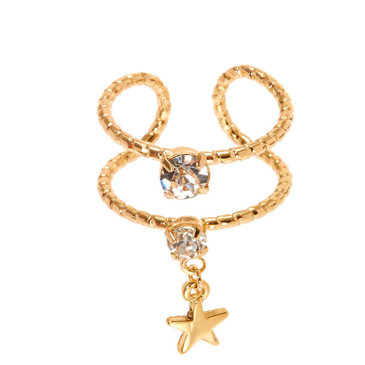 Gold Star Charm Ring,