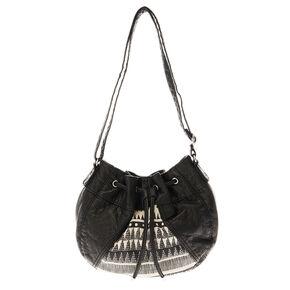 Black Aztec Print Faux Leather Cross Body Bucket Bag,
