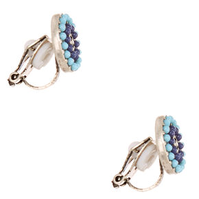 Shades of Blue Bead Circle Clip-on Stud Earrings,