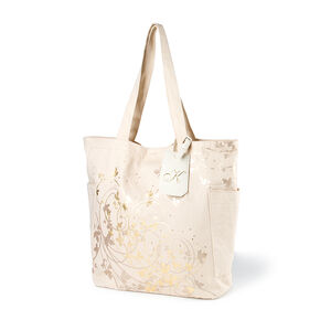 Bridesmaid Canvas Tote Bag with K Initial Tag,
