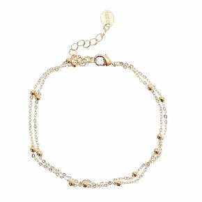 Double Beaded Gold Toned Anklet,