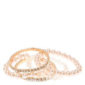 Blush Rhinestone & Pearl Bracelet Set,