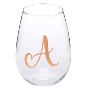"Rose Gold-Tone ""A"" Initial Stemless Wine Glass,"