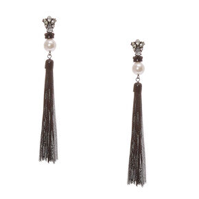 Crystal Cluster and Faux White Pearl Black Chain Tassel Fringe Drop Earrings,