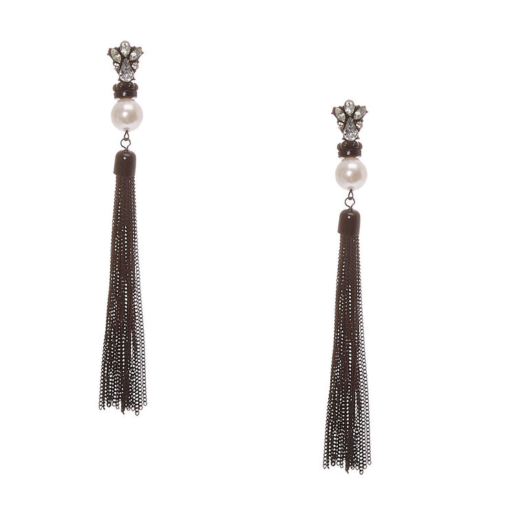 Crystal Cluster and Faux White Pearl Black Chain Tassel Fringe Drop Earrings at Icing in Victor, NY | Tuggl