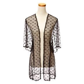 Black Hearts Fishnet Kimono Robe,