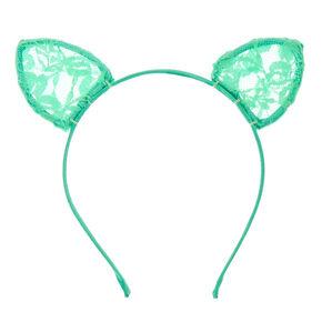 Mint Lace Cat Ears Headband,