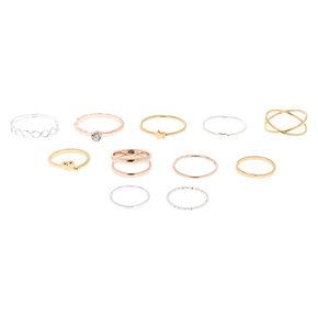 9-Pack Mixed Metal Rings + 10th Bonus Ring,