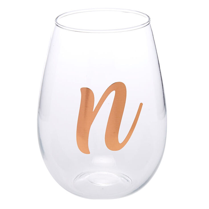 """Rose Gold-Tone """"N"""" Initial Stemless Wine Glass,"""