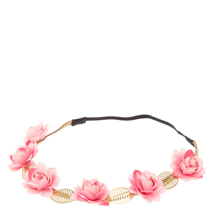 Pink Flowers and Gold Leaves Head wrap,