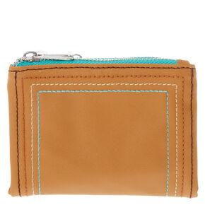 Cognac Stitch Foldover Wallet,