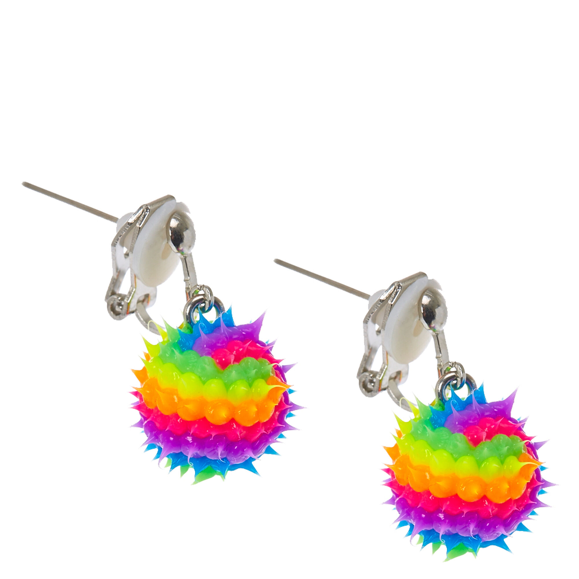 rainbow rave ball clipon drop earrings claires
