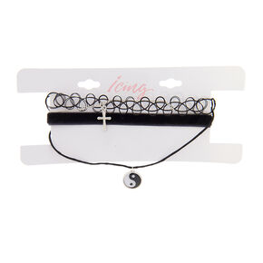 Black Tattoo and Velvet Chokers with Silver Cross and Yin Yang Pendant Necklaces Set of 4,