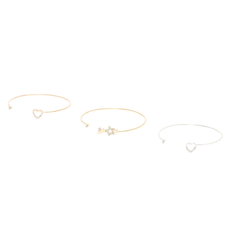 3-Pack Mixed Metal Heart and Star Cuff Bracelets,