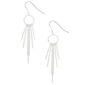 Silver Open Circle Bar Fringe Drop Earrings,