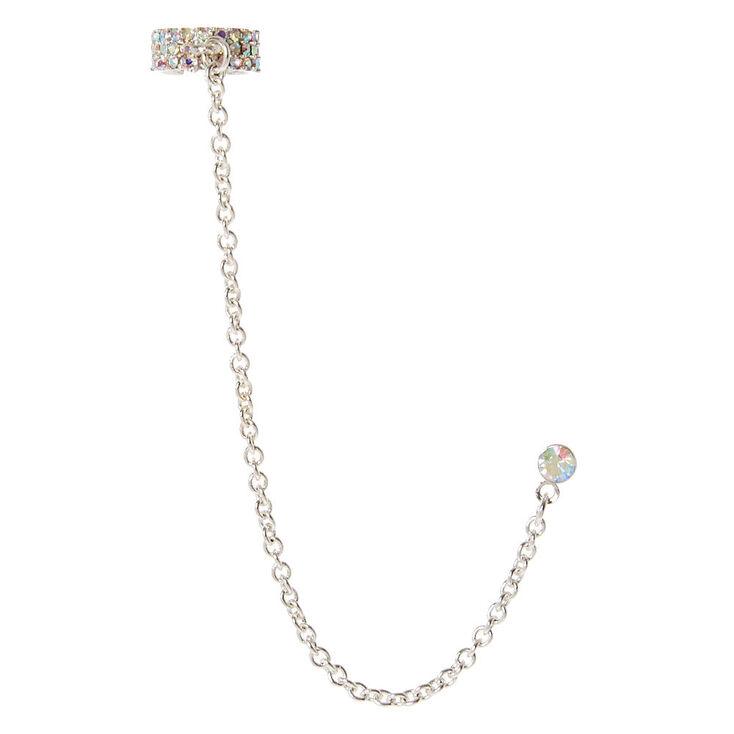 Iridescent Crystal Chain Ear Cuff,