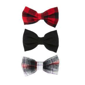 Hair bows for girls bow headbands hair bow clips claires red and black plaid mini bow hair clips urmus Choice Image