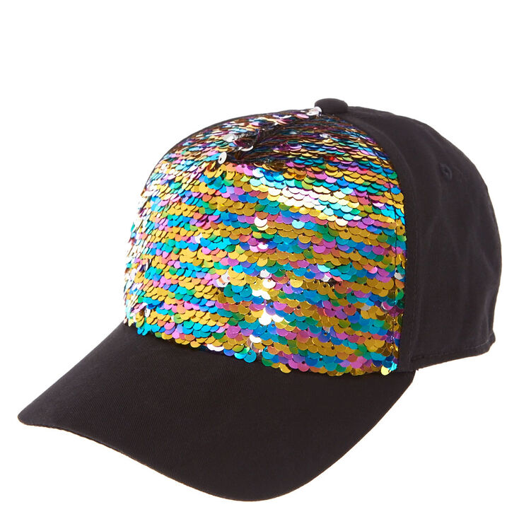 sequin baseball caps uk pink sparkle cap rainbow reversible silver