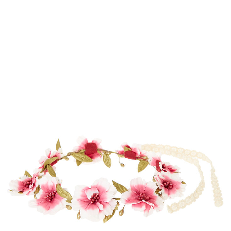 Pink Ombre Flower and Seed Bead Hair Garland,