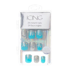 Silver Glitter and Turquoise Instant Nails,