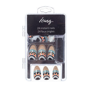 Beige Tribal Print Stiletto Instant Nails,