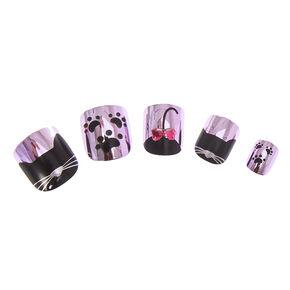 Kids Metallic Pink and Black Cat Motif Press On Faux Nails,