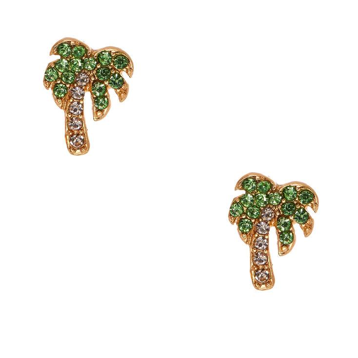 Crystal Palm Tree Stud Earrings,