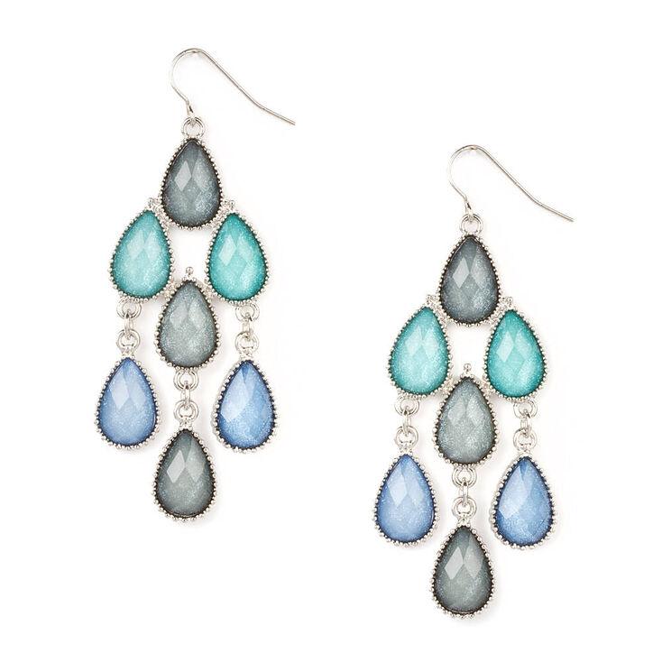 Shades of Blue Glitter Stone Teardrops Chandelier Drop Earrings,