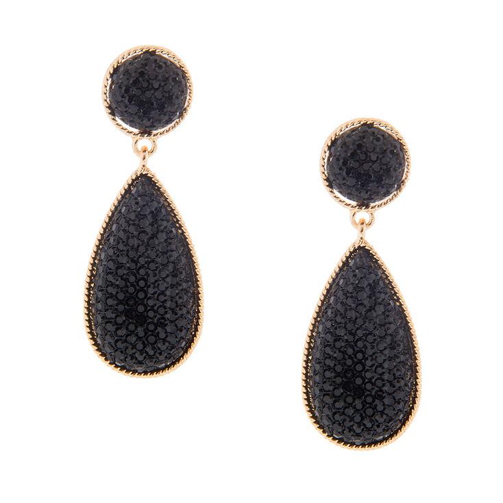 Black Faux Druzy Teardrop Drop Earrings,