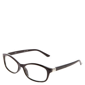 Black Rectangle and Ribbed Silver Hinge Eyewear,