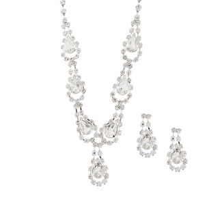Rhinestone and Crystal Teardrops Y Necklace and Drop Earrings Set,