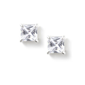 7MM Cubic Zirconia Square Cut Four Prong Set Stud Earrings,
