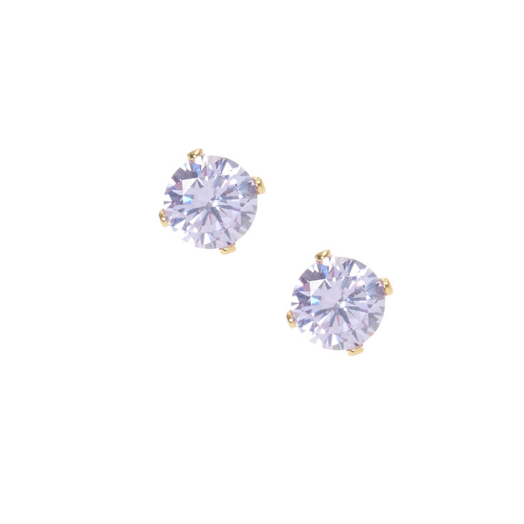 18kt Gold Plated Cubic Zirconia Purple Studs,