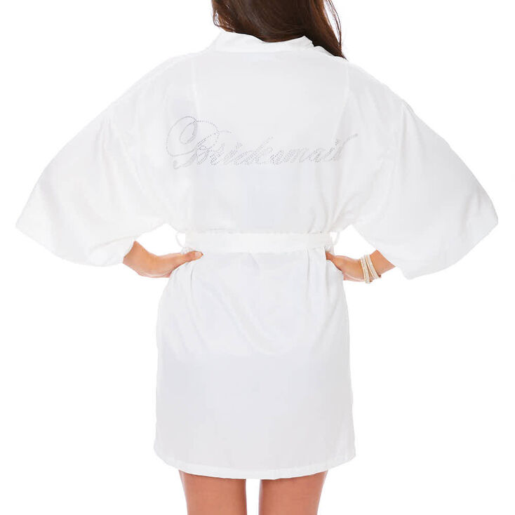 White Satin and Crystal Bridesmaid Robe,
