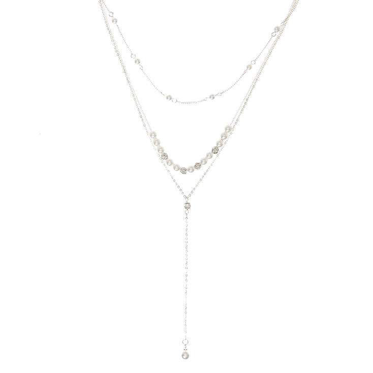Silver-tone Fireball and White Faux Pearl Y Necklace,