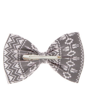 Gray and White Aztec Print Mesh Bow Hair Clip,