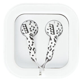Black and White Music Note Earbuds,