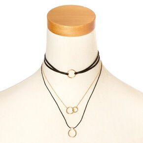 Black & Gold Multi Choker Necklace,