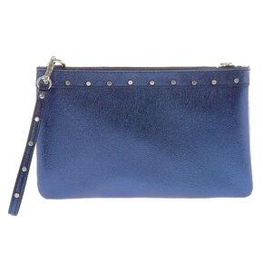 Blue Metallic Sheen Studded Clutch Bag,