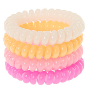 Glow in the Dark Pink and Orange Coiled Hair Ties,