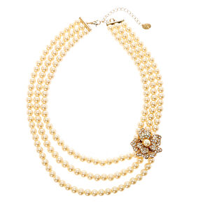 Multi-Layer Ivory Pearl Necklace with  Gold-tone Flower Brooch,