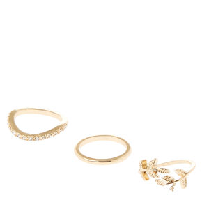Gold Leaf Midi Ring Set,