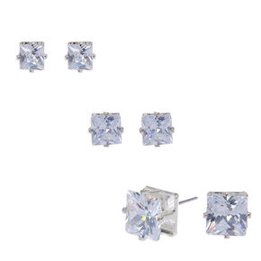 Cubic Zirconia Four Prong Set Square Studs Set of 3,