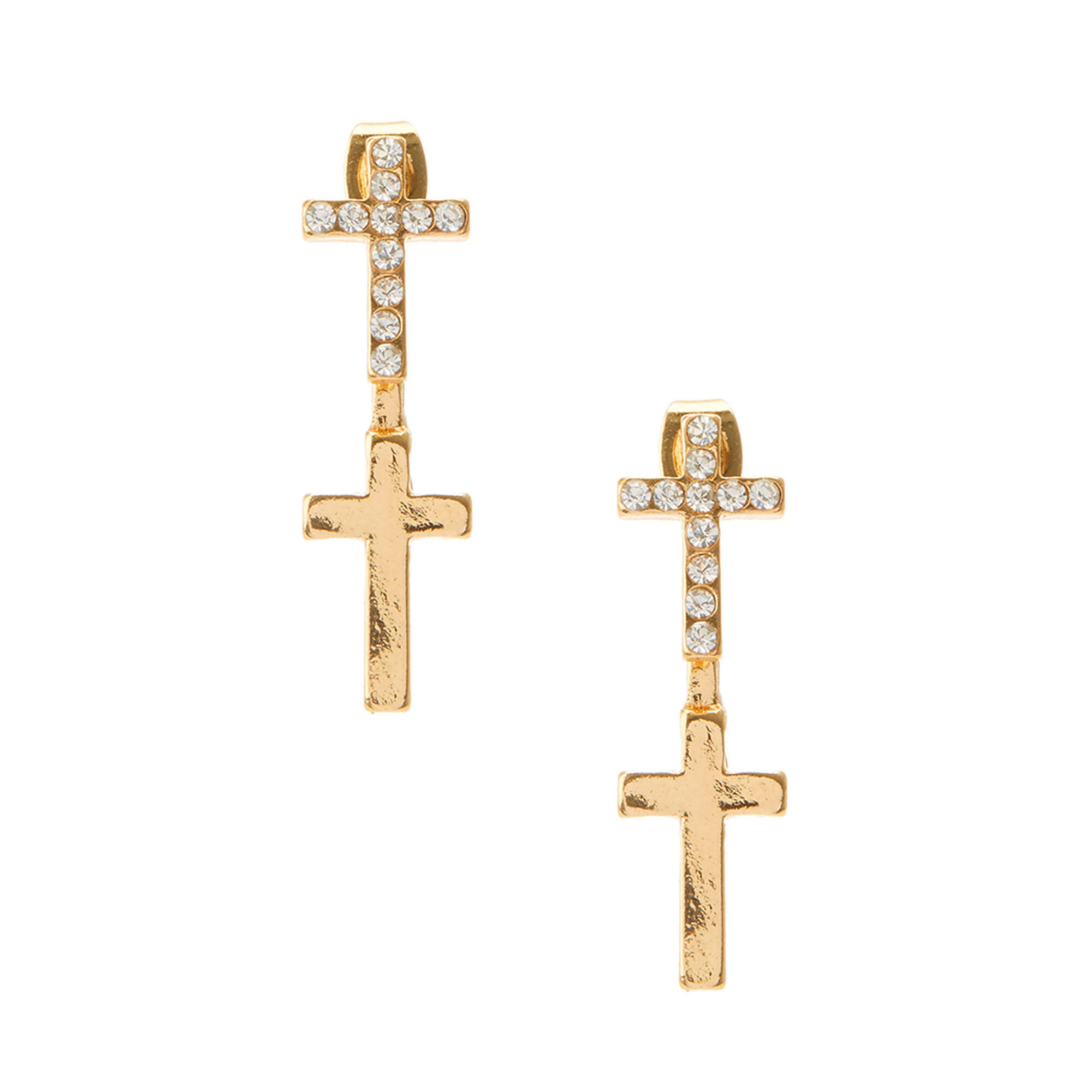 Goldtone Double Cross Front And Back Earrings,