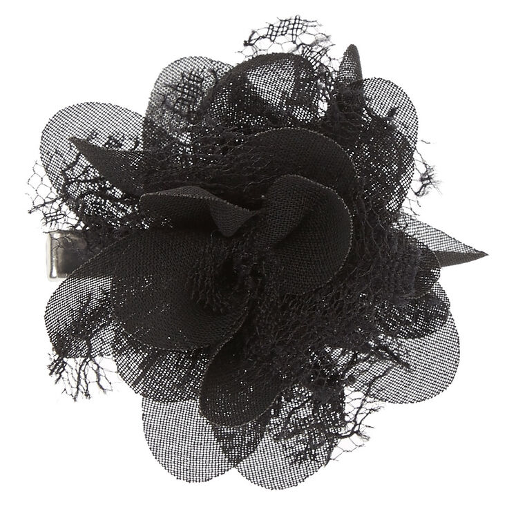 Black Chiffon Mini Flower Hair Clip at Icing in Victor, NY | Tuggl
