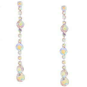 Iridescent Crystal Chain and Crystals Linear Drop Earrings,