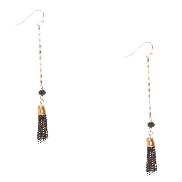 Black and Gold Chain Tassel Fringe Drop Earrings,