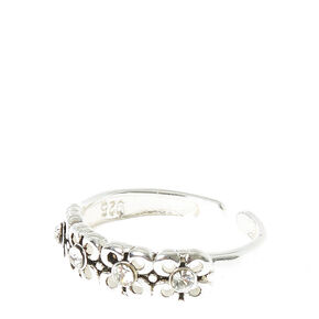 Flower Silver Toned Toe Ring,