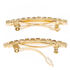Gold Tone Crystal Hair Barrettes,