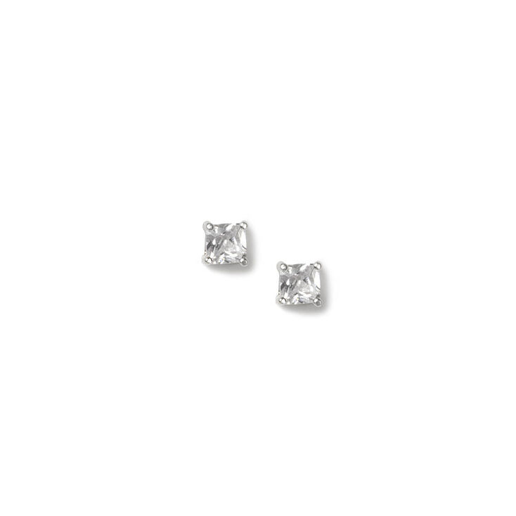 3MM Cubic Zirconia Four Prong Set Square Stud Earrings,